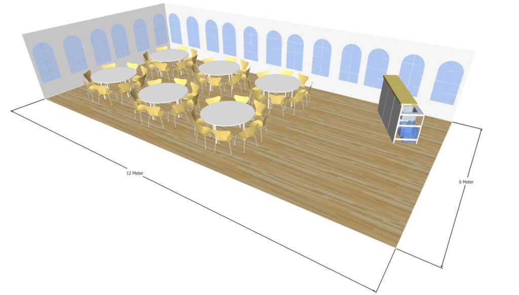 3D tegning af 6x12 meter telt med runde borde til fest og events i teltudlejning