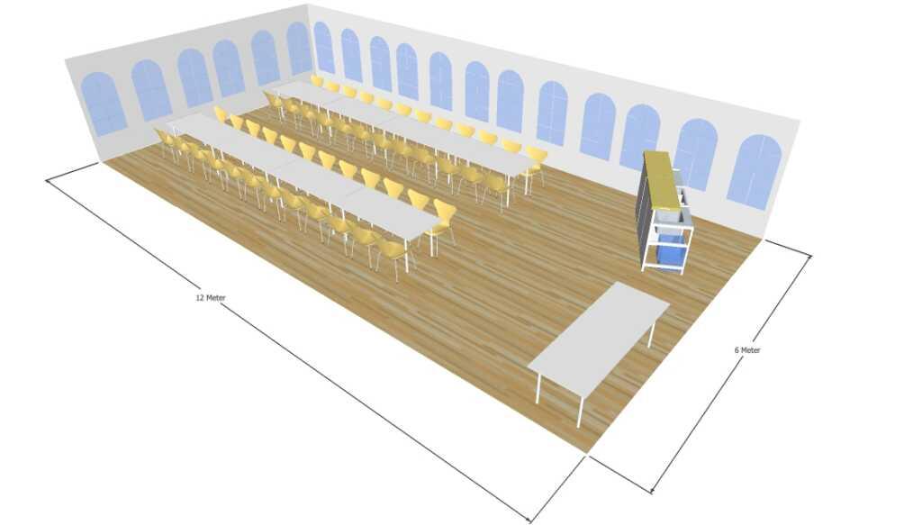 3D tegning af 6x12 meter telt til fest og events i teltudlejning
