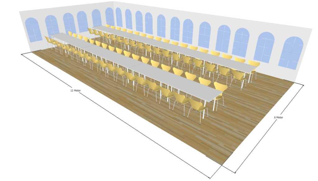 3D tegning af 6x12 meter telt med lange borde til fest og events i teltudlejning