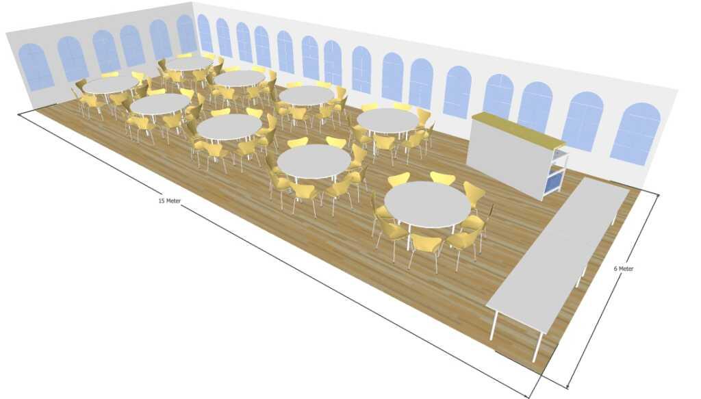 3D tegning 6x15 meter telt til fest og events i teltudlejning