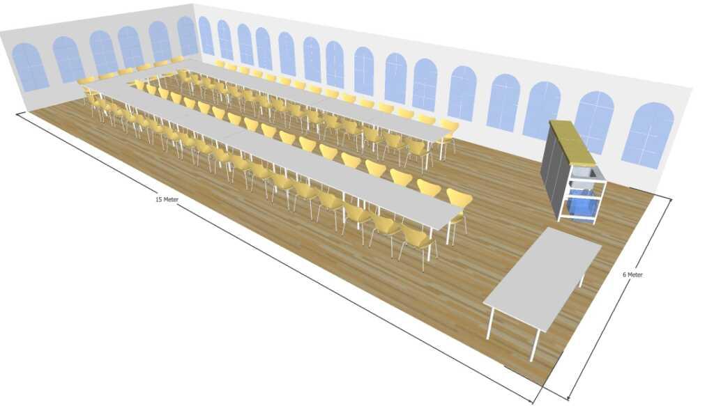 3D tegning af 6x15 meter telt til fest og events i teltudlejning