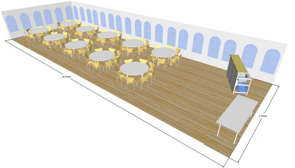 3d tegning 6x18 meter telt til fest og events i teltudlejning
