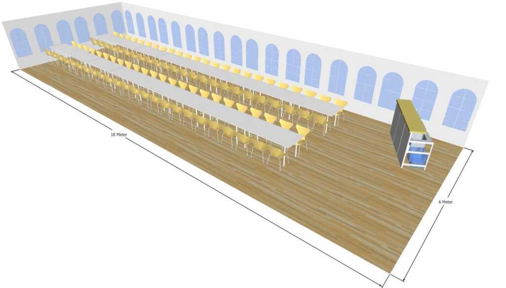3D tegning af 6x18 meter telt til fest og events