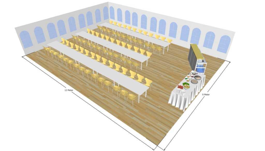 3D tegning af 9x12 meter telt til fest og events i teltudlejning