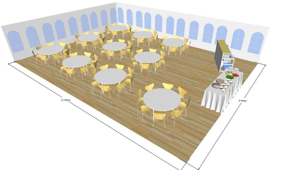 3D tegning af 9x12 meter telt til fest og events