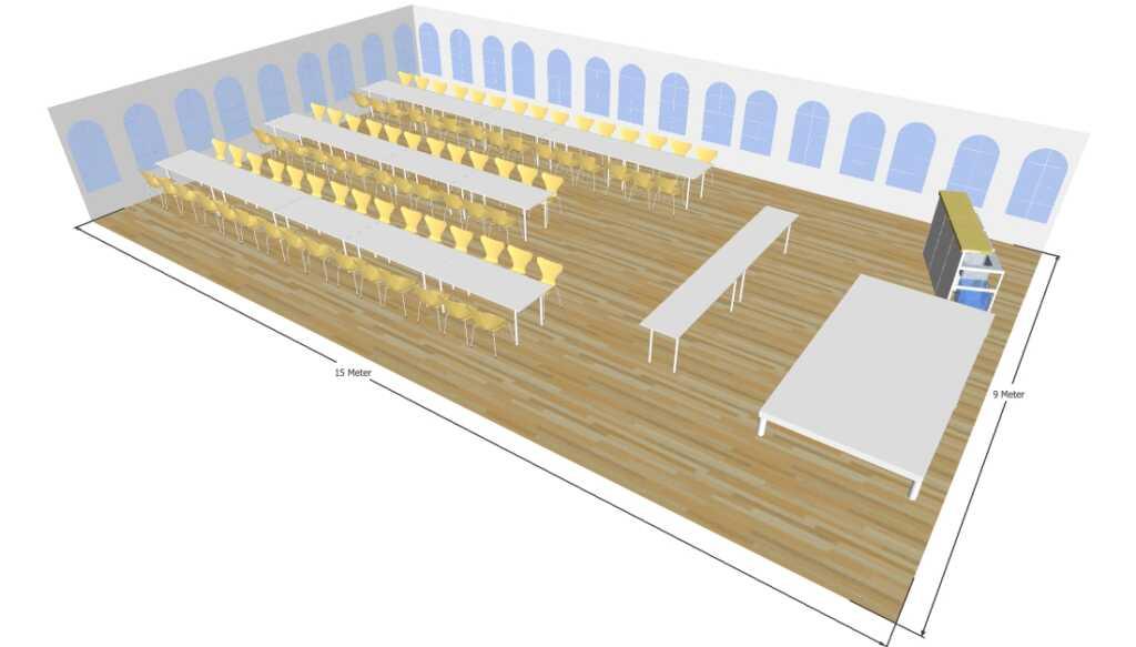 3D tegning af 9x15 meter telt til fest og events i teltudlejning