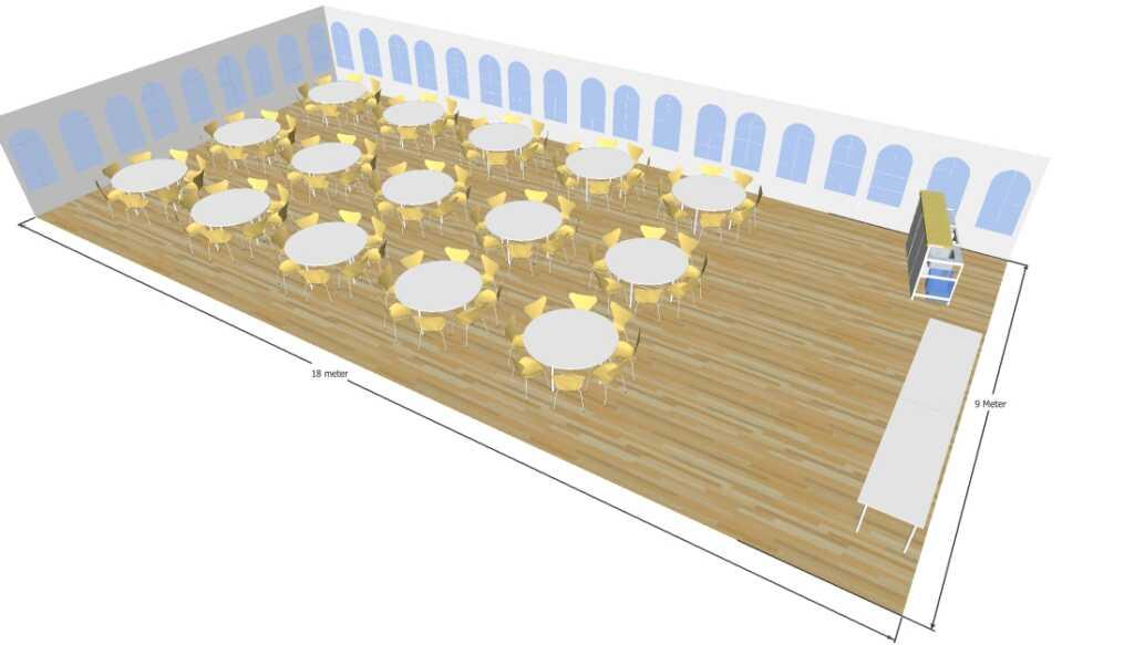 3D tegning af 9x18 meter telt til fest og events i teltudlejning