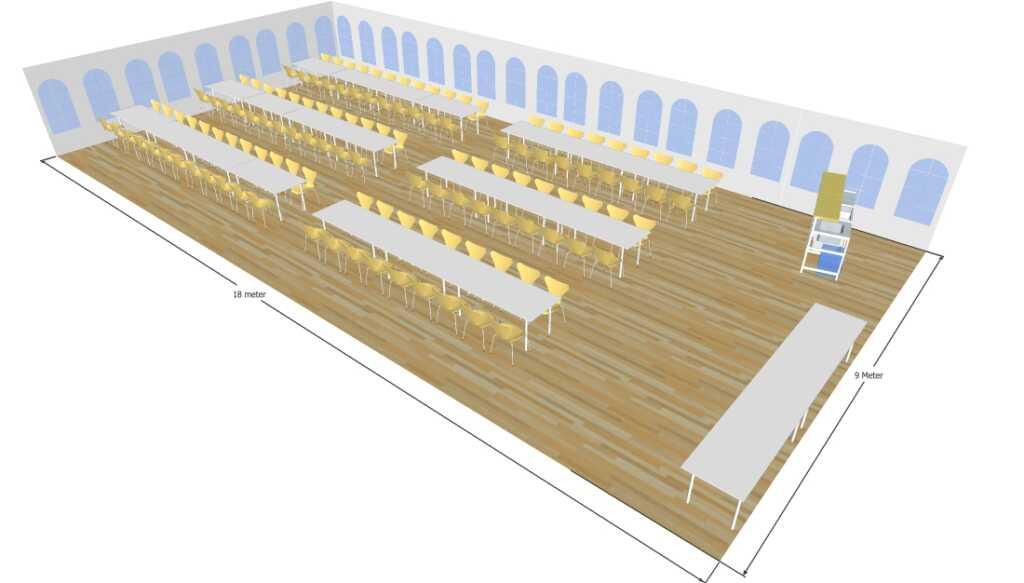 3D tegning af 9x18 telt til fest og event i teltudlejning