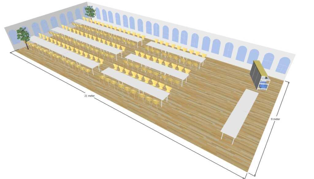 3D tegning af 9x21 meter telt til fest og events i teltudlejning