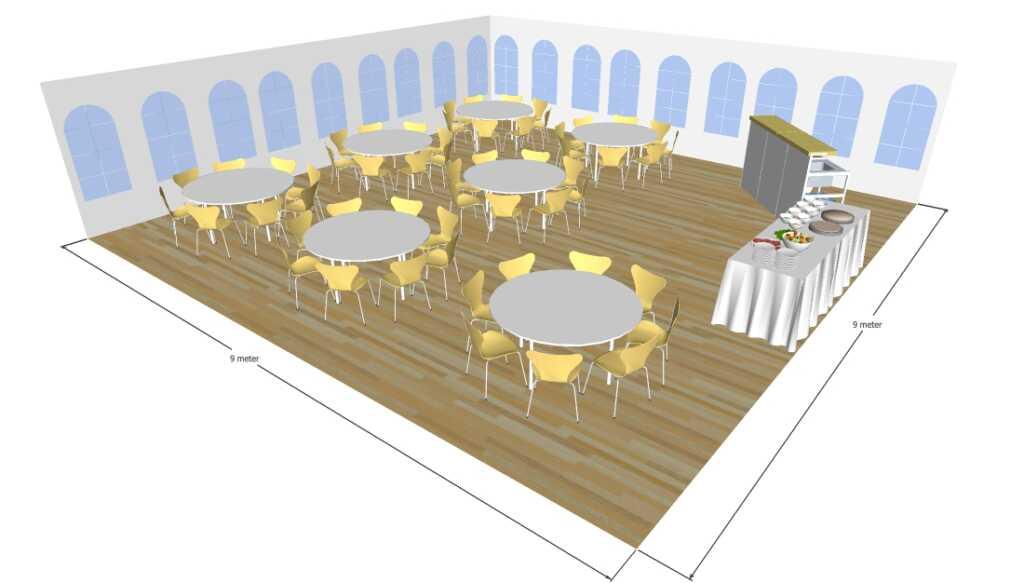 3D tegning af 9x9 meter telt til fest og events