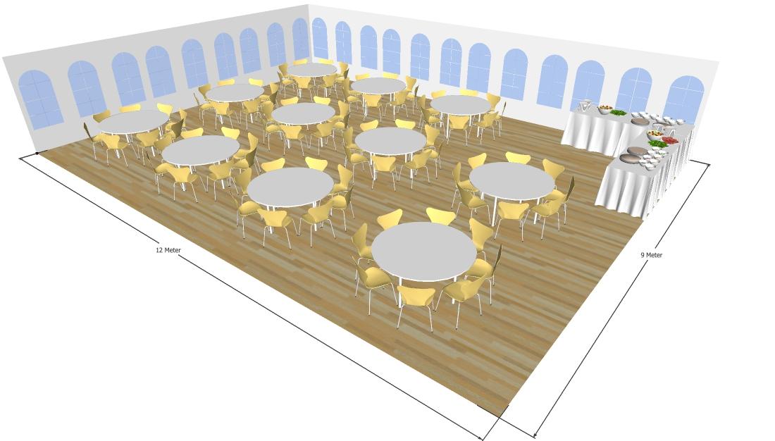 9x12 meter telt til 88 personer med runde borde