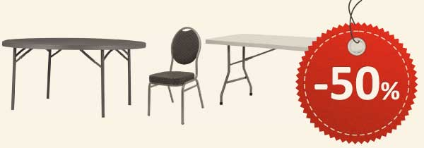 50% rabat på borde og stole